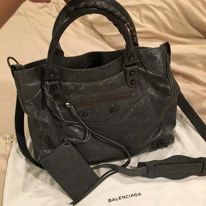 Balenciaga Gris Tarmac Velo Handbag Cross Body Bag